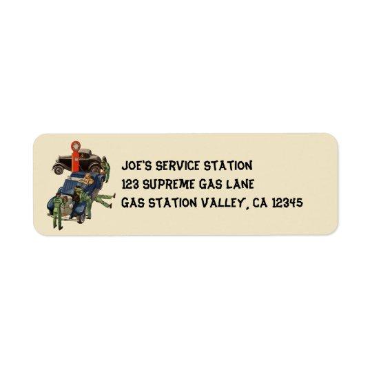 Etiqueta Gasolinera del servicio completo de Joe, negocio
