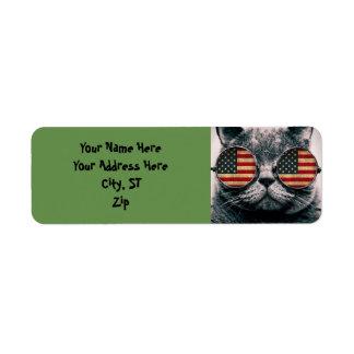 Etiqueta Gato con las gafas de sol - bandera americana