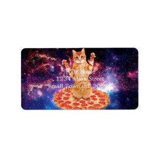 Etiqueta gato de la pizza - gato anaranjado - espacie el