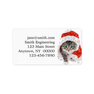 Etiqueta gato de Papá Noel - collage del gato - gatito -