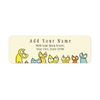 Etiqueta Gatos coloridos de la porción el mirar fijamente