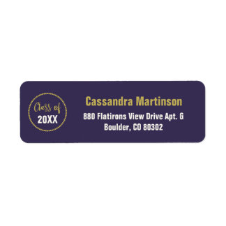 Etiqueta Graduación púrpura moderna elegante del oro