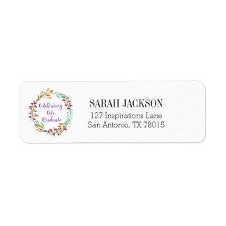 Etiqueta Graduación violeta de la guirnalda de la acuarela