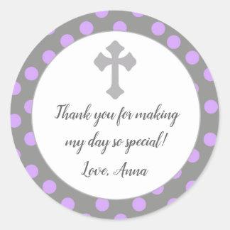 Etiqueta gris púrpura del favor del regalo del