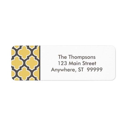 Etiqueta gris y amarilla elegante del remite
