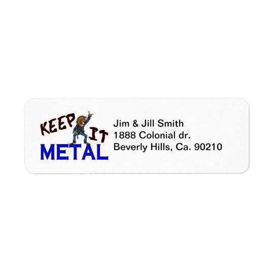 Etiqueta Guárdelo metal