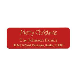 Etiqueta Haga falso oro las Felices Navidad rojas el remite