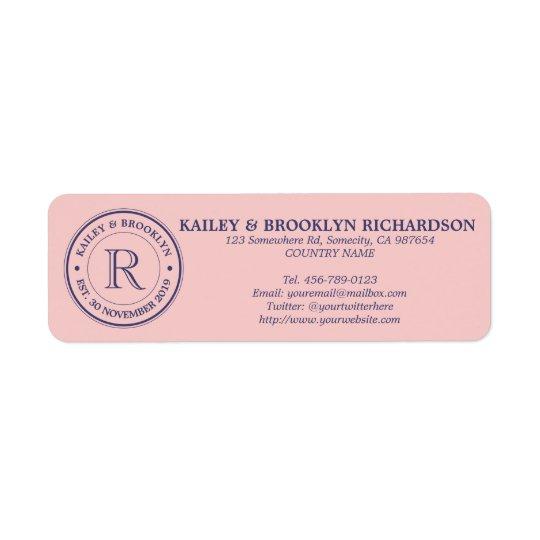 Etiqueta Haga su propio monograma del logotipo del rosa del