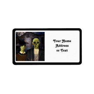 Etiqueta Halloween gótico americano