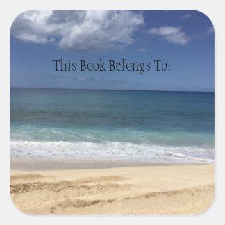 Etiqueta hawaiana del libro de la playa