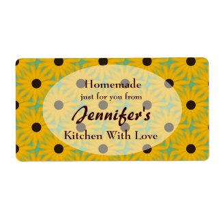 Etiqueta hecha en casa de la comida de la cocina etiqueta de envío