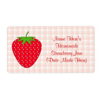 Etiqueta hecha en casa de la mermelada de fresa. etiquetas de envío