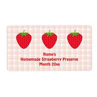 Etiqueta hecha en casa del coto de fresa. Rosa y Etiquetas De Envío
