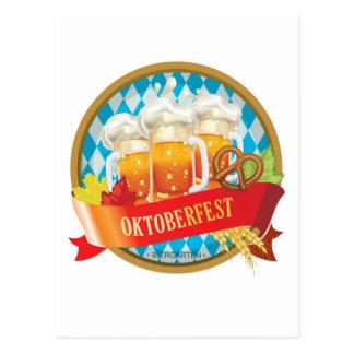 Etiqueta hermosa de Oktoberfest con la cerveza Postal