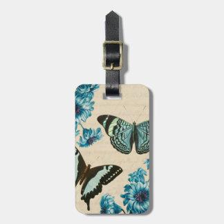 Etiqueta hermosa del equipaje de la mariposa de la