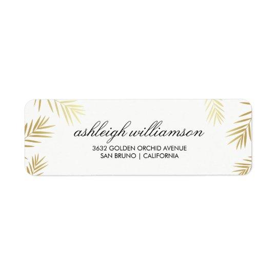 Etiqueta Hojas de palma del oro en el boda tropical del