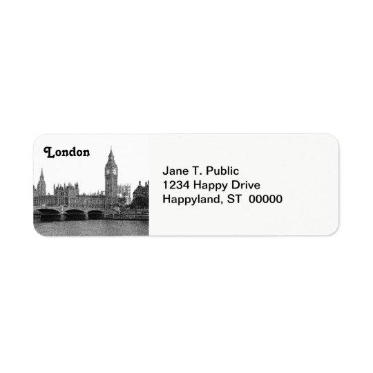 Etiqueta Horizonte BRITÁNICO de Londres Inglaterra grabado
