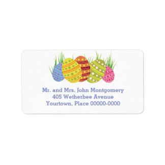 Etiqueta Huevos de Pascua retros en la hierba