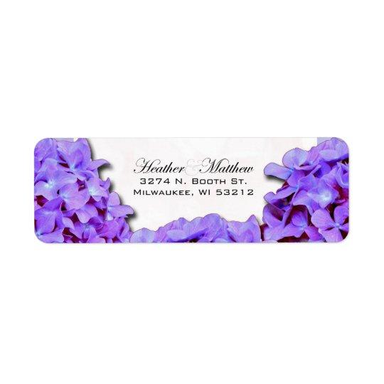 Etiqueta Hydrangea púrpura que casa el remite