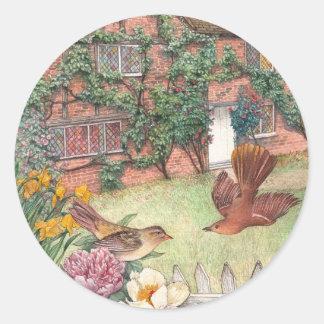 Etiqueta ilustrada del jardín de la cabaña de los