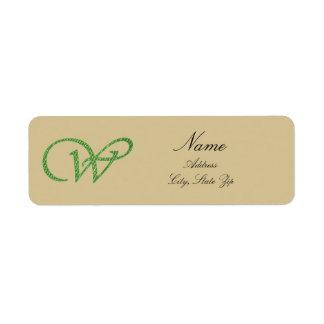 Etiqueta Inicial verde del monograma de la letra cursiva W