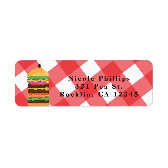 Etiqueta Invitación roja de la barbacoa del Cookout del