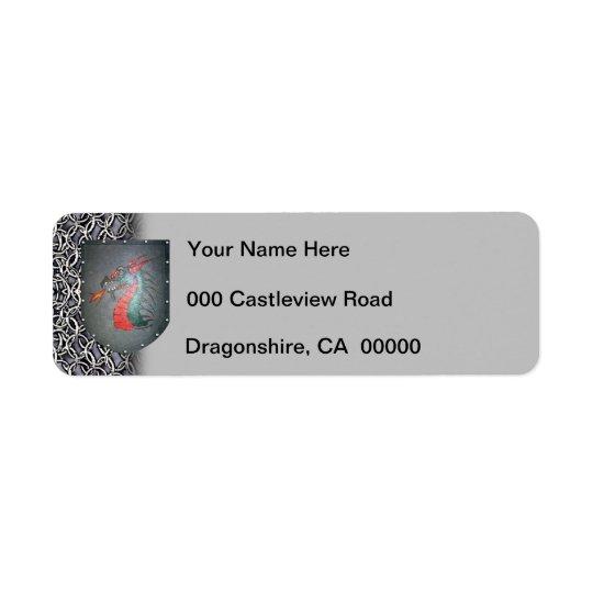 Etiqueta Izquierda gris de Chainmail del dragón del escudo