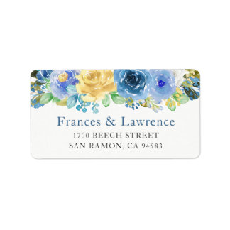 Etiqueta Jardín botánico azul elegante del rosa amarillo