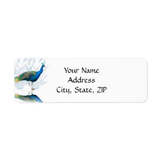 Etiqueta Jardín del pavo real en azul y blanco