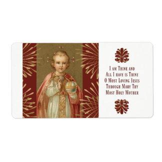 Etiqueta Jesús infantil del rezo de Praga