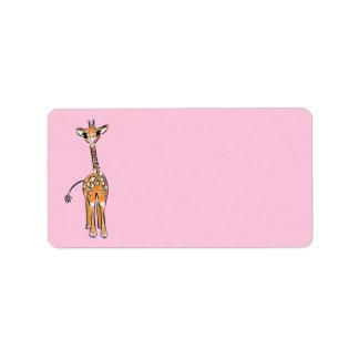 Etiqueta Jirafa del bebé - rosa