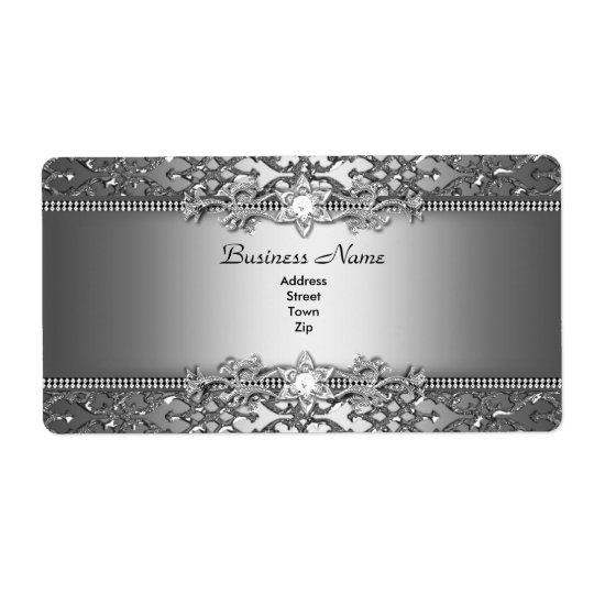 Etiqueta Joya grabada en relieve damasco de plata con clase