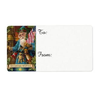 Etiqueta Juguetes de Papá Noel y bandera americana