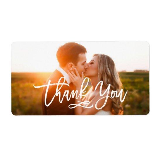 Etiqueta La mano elegante puesta letras le agradece foto