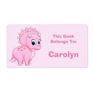 Etiqueta Libro rosado lindo del dinosaurio del Triceratops