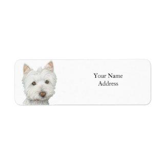 Etiqueta linda de Avery del perro de Westie Etiqueta De Remitente