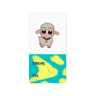 Etiqueta linda de las ovejas etiquetas de dirección
