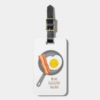 Etiqueta linda del equipaje de tocino y del huevo