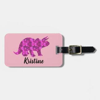 Etiqueta linda del equipaje del dinosaurio rosado