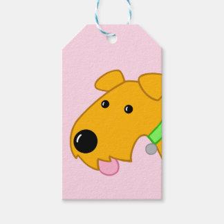 Etiqueta linda del regalo de la cara del perrito
