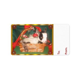 Etiqueta linda del regalo del navidad de la cabra etiqueta de dirección