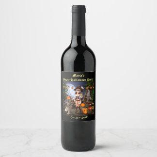 Etiqueta linda del vino del chica del pirata de