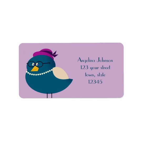 Etiqueta Lindo púrpura elegante divertido del dibujo