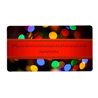 Etiqueta Luces de navidad multicoloras. Añada el texto