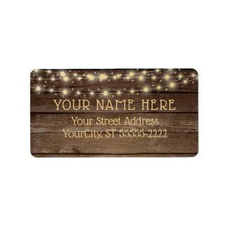 Etiqueta Luces rústicas de madera y de la secuencia del