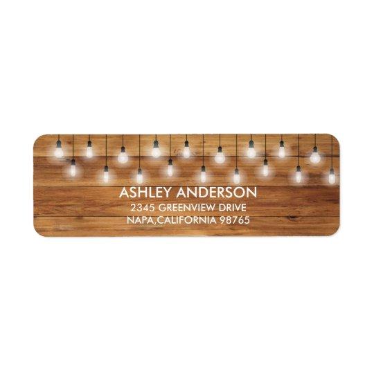 Etiqueta Luces rústicas simples de madera del boda
