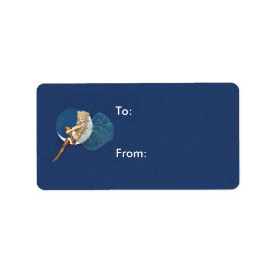 Etiqueta Luna azul de las medias de hadas azules bonitas