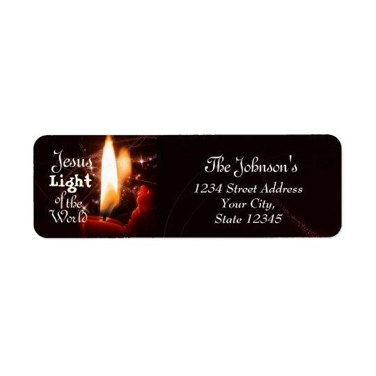 Etiqueta Luz del mundo, vela de Jesús del navidad