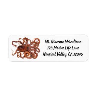 Etiqueta Macropus del pulpo del vintage, animales acuáticos