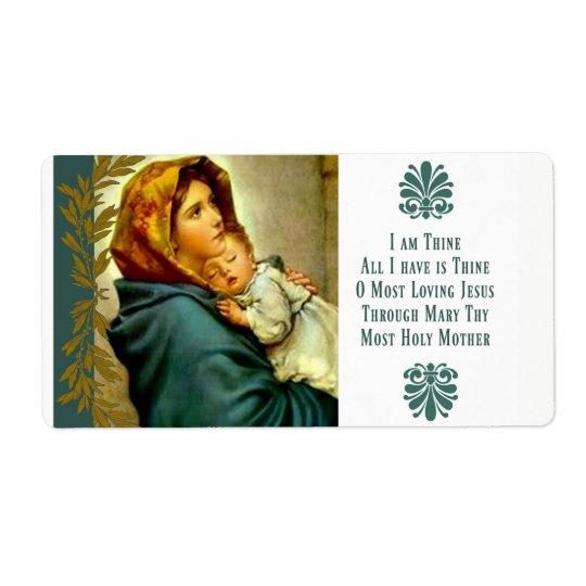 Etiqueta Madre bendecida que celebra al niño Jesús